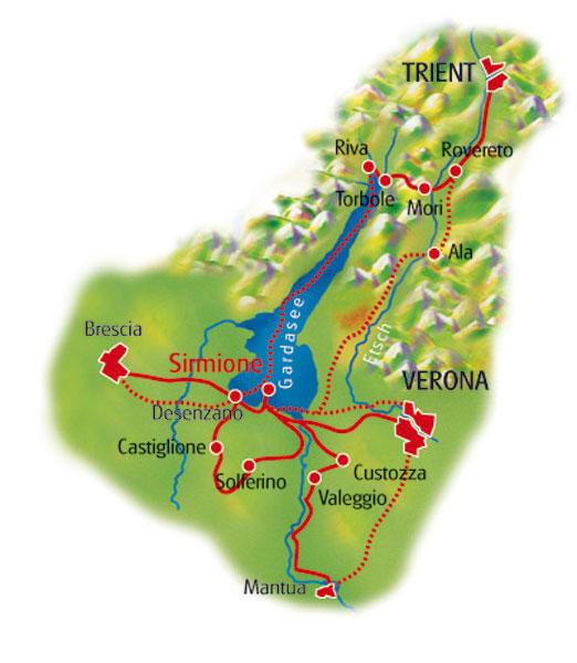 weinstrasse gardasee karte Radurlaub am Gardasee   eine Sternfahrt mit Hotel in Sirmione